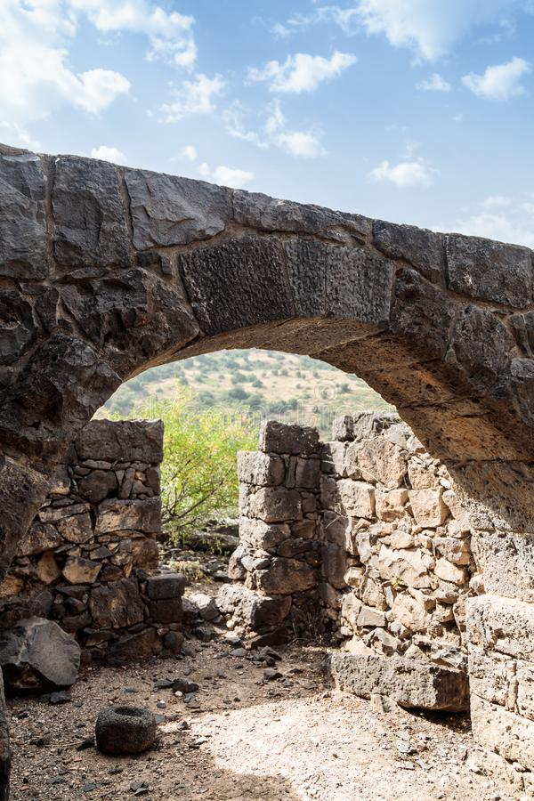 The remains of an oil refinery on the ruins of the ancient Jewish city of Gamla on the Golan Heights destroyed by the armies of th. The remains of an oil stock image