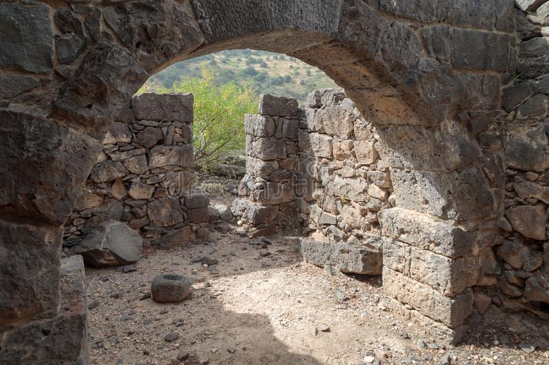 The remains of an oil refinery on the ruins of the ancient Jewish city of Gamla on the Golan Heights destroyed by the armies of th. The remains of an oil stock photography