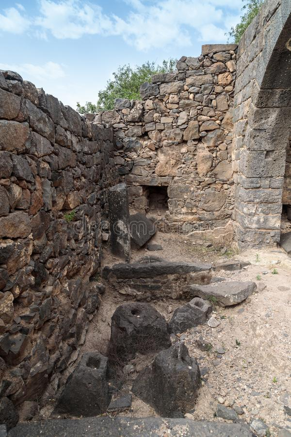 The remains of an oil refinery on the ruins of the ancient Jewish city of Gamla on the Golan Heights destroyed by the armies of th. The remains of an oil stock photos