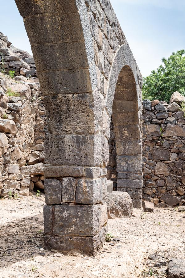 The remains of an oil refinery on the ruins of the ancient Jewish city of Gamla on the Golan Heights destroyed by the armies of th. E Roman Empire in the 67th stock photography