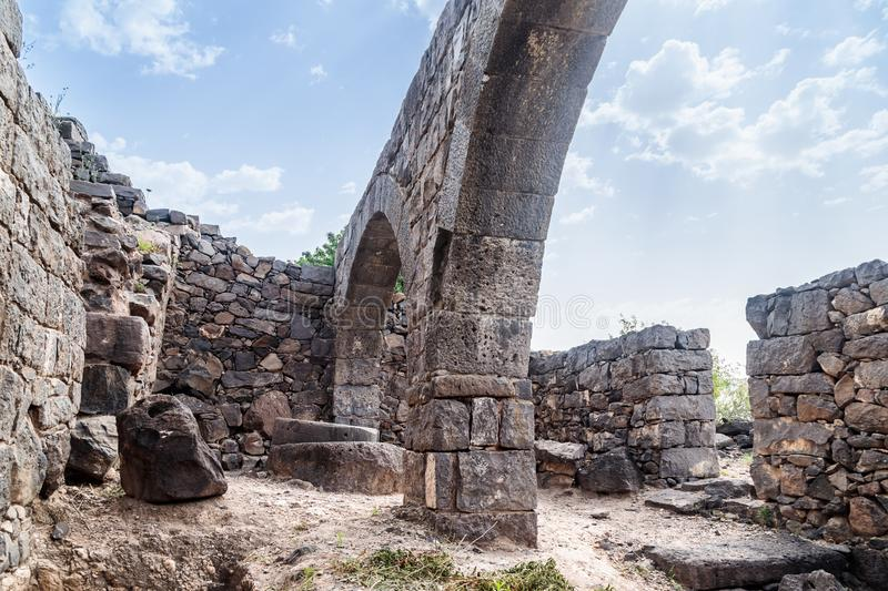 The remains of an oil refinery on the ruins of the ancient Jewish city of Gamla on the Golan Heights destroyed by the armies of th. The remains of an oil stock photo