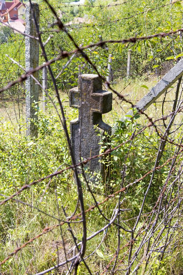 Remains from the old Jews graveyard. From Toplita city in Romania stock images