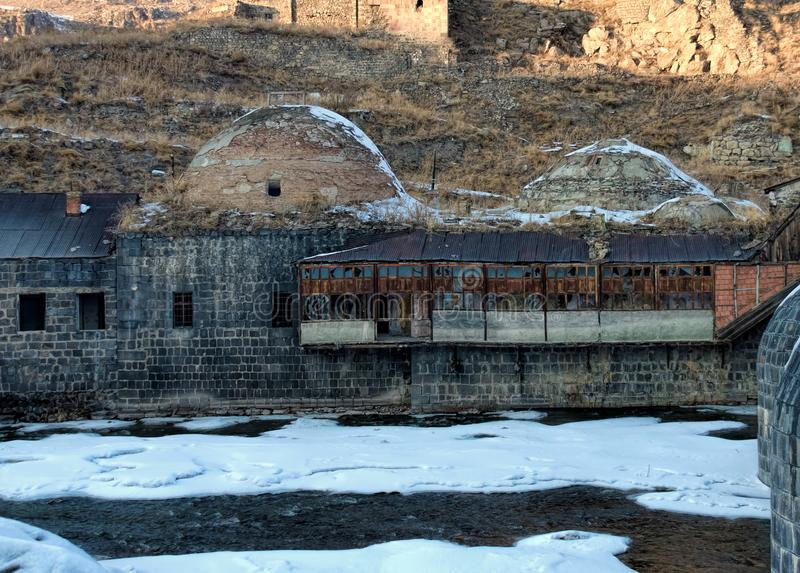 Remains of an old Ottoman public bath in Kars royalty free stock images