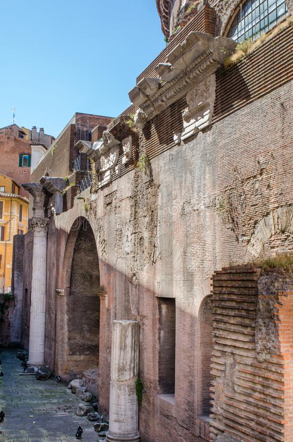 The remains of the rear of the world famous Pantheon in Rome, It royalty free stock image