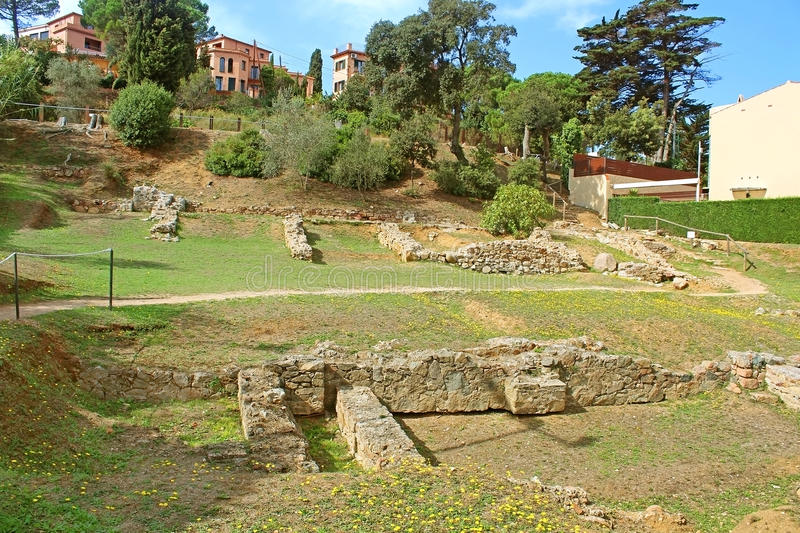 Remains of the Roman villa of the Ametllers in Tossa de Mar royalty free stock photo