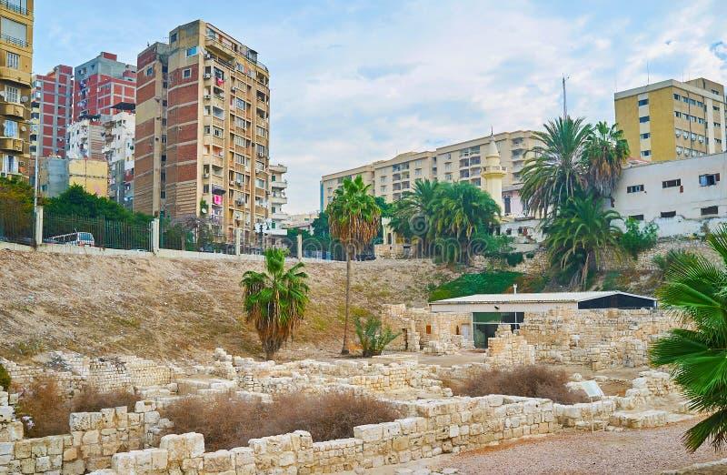 Remains of Roman village in Alexandria, Egypt stock photos