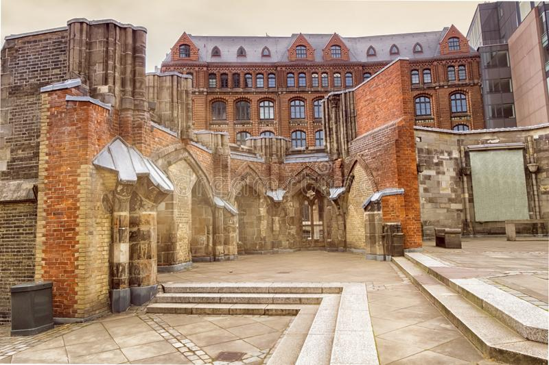 Remains of the Saint Nicholas church, Hamburg, Germany. Remains of the Saint Nicholas church which was almost completely destroyed during the bombing of Hamburg stock photo