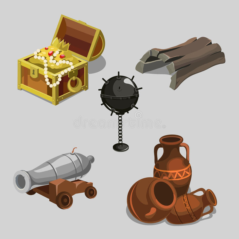 Remains of the ship, cannon, treasure and other stock illustration