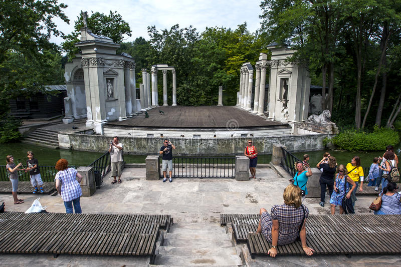 The remains of the Stage of the Roman Theatre at Lazienki Park in Warsaw in Poland. royalty free stock photography