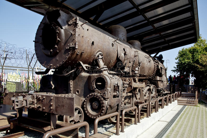 Remains of steam train destroyed during the Korean War stock photos