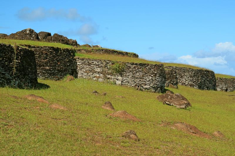 The Remains of Stone Houses at Orongo Village, Archaeological site of Ceremonial Center on Easter Island, Chile stock photography