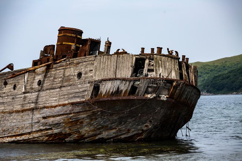 The remains of a sunken ship in the Japanese Sea royalty free stock photo