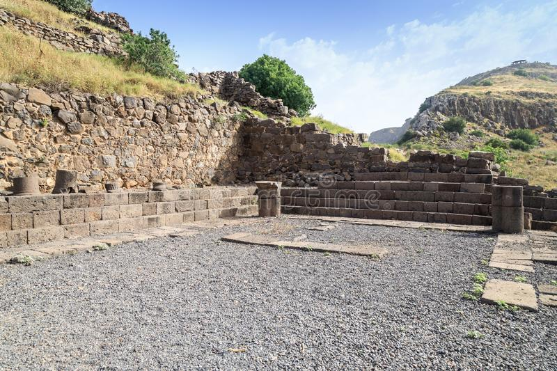 The remains of a synagogue in the ruins of the ancient Jewish city of Gamla on the Golan Heights destroyed by the armies of the Ro. The remains of a synagogue in stock photos