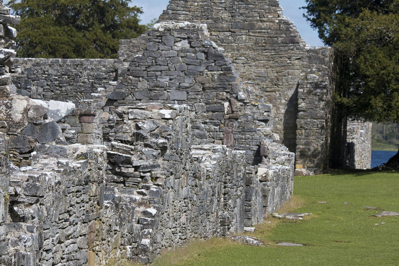 Remains of 7th century Innisfallen Abbey on Innisfallen Island. Lough Leane, Killarney, County Kerry stock images