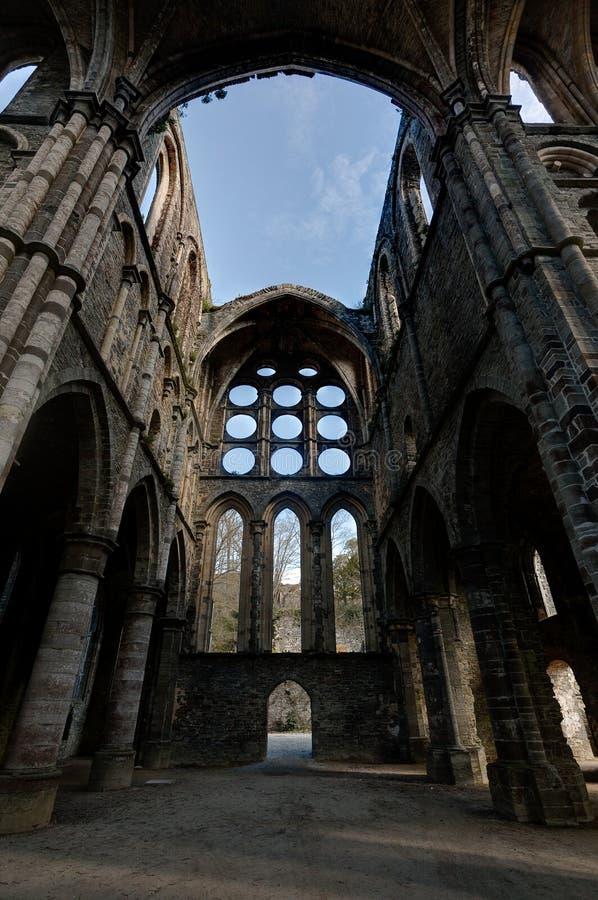 Ruins transept vaults cathedral Abbey Villers la Ville, Belgium stock photo
