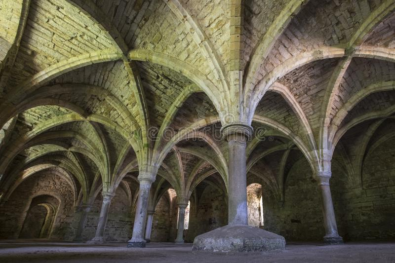 Undercroft of Battle Abbey in East Sussex. The remains of the undercroft at the historic Battle Abbey in East Sussex, UK stock image