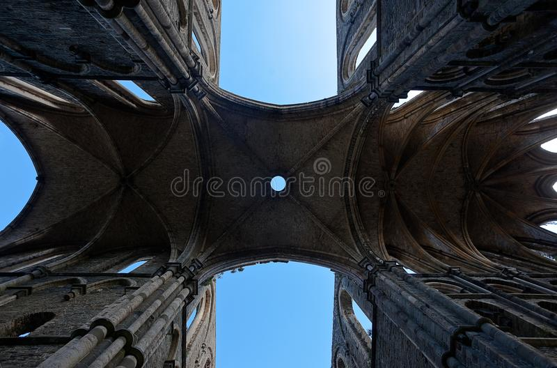 Ruins vaults cathedral Abbey Villers la Ville, Belgium royalty free stock photos