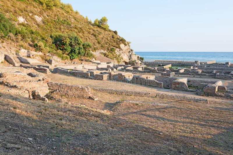 The remains of the Villa of Tiberio, Sperlonga stock photos