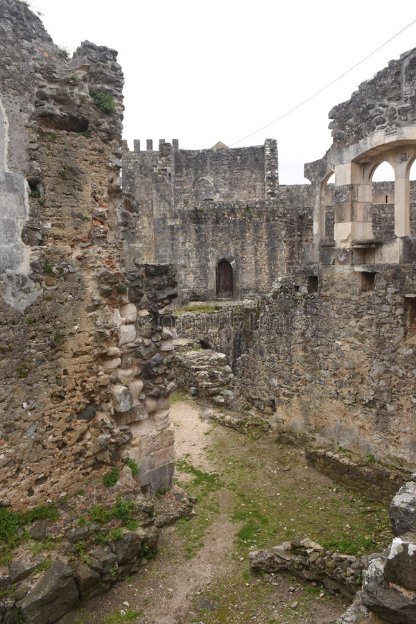 Remains of the walled castle of Leiria, Beiras. Region, Portugal stock images