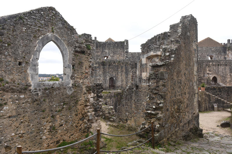Remains of the walled castle of Leiria, Beiras. Region, Portugal stock photography