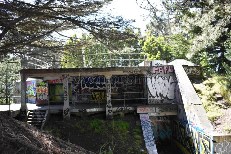 The remains of West Fort Miley beautified under graffiti, 9. royalty free stock images