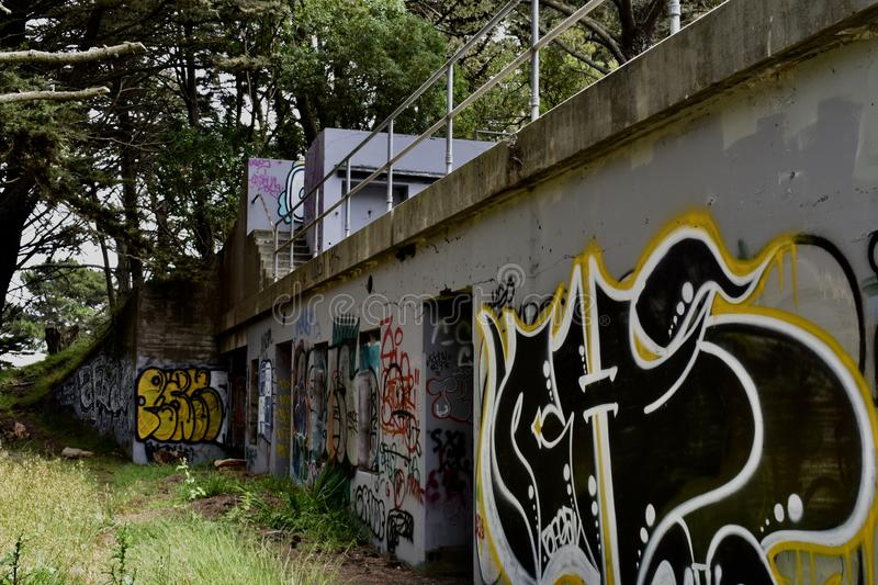 The remains of West Fort Miley beautified under graffiti, 18. royalty free stock photo