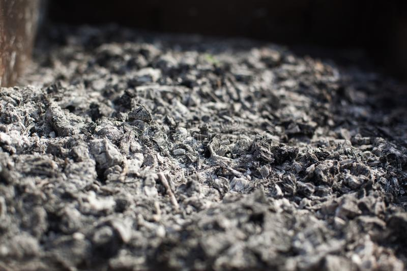 Remains of wood coal and ashes after the combustion of firewood royalty free stock photos