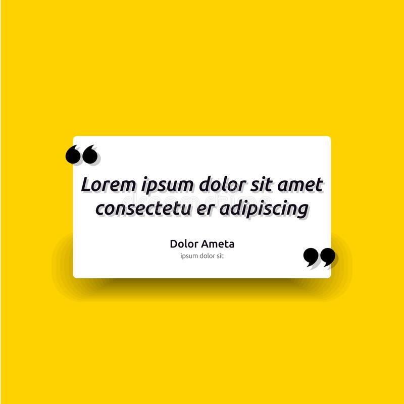 Remark quote text box poster template concept. blank empty frame citation. Quotation paragraph symbol icon. double bracket comma m royalty free illustration