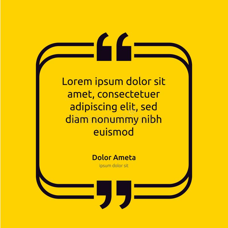 Remark quote text box poster template concept. blank empty frame citation. Quotation paragraph symbol icon. double bracket comma m stock illustration