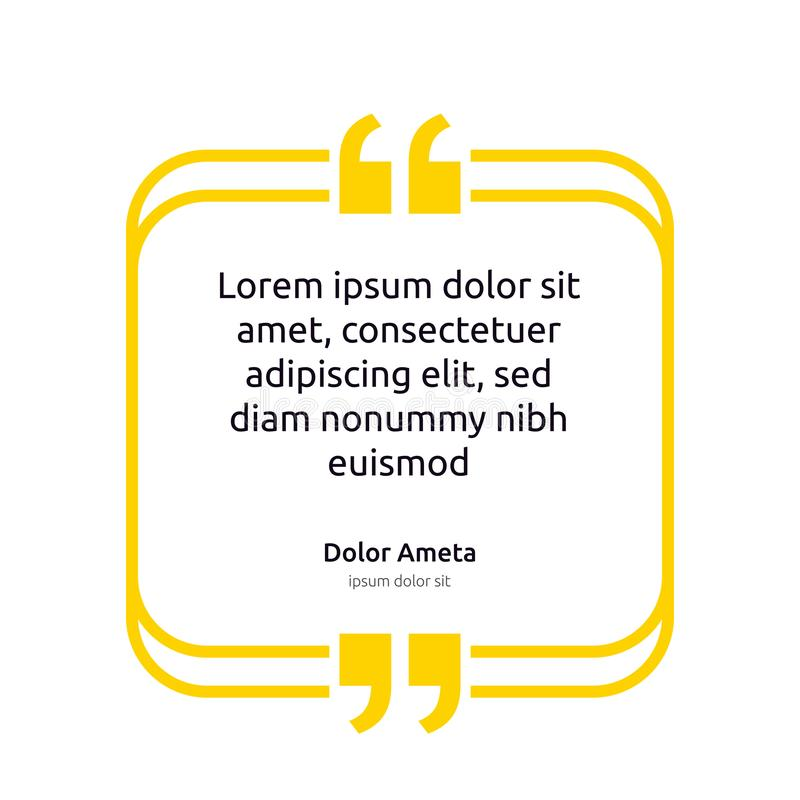 Remark quote text box poster template concept. blank empty frame citation. Quotation paragraph symbol icon. double bracket comma m vector illustration