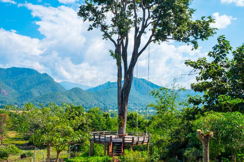 Remarkable places, Pai, Mae Hong Son, Thailand. The giant swing hang on the big tree, Mountain and nature Landscape, Pai, Mae Hong Son, Thailand royalty free stock photo