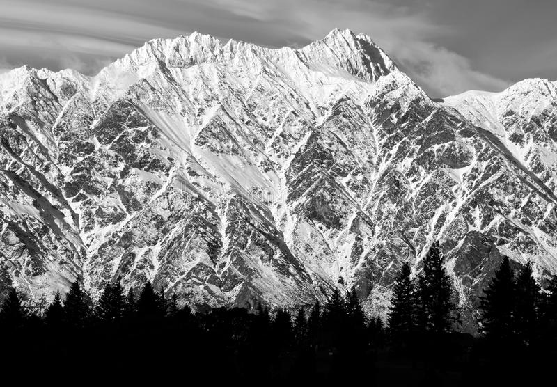 The Remarkables Mountain Range with trees silhouette in black and white in  Queenstown New Zealand stock photo
