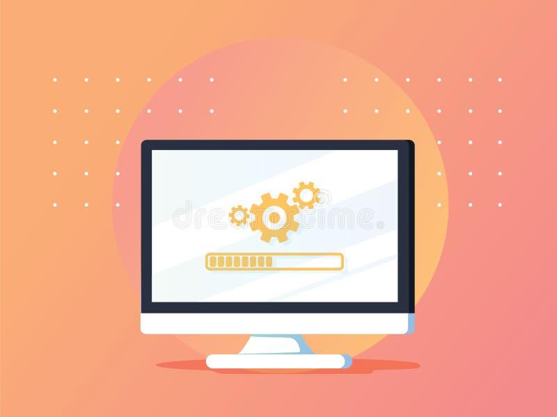 REMARKETING вебсайты Обновление компьютера онлайн Gradi вектора плоские иллюстрация вектора
