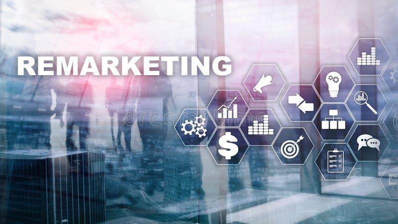 Remarketing affärsteknologi Internet- och nätverksbegrepp Blandat massmedia Finansiellt begrepp på suddig bakgrund fotografering för bildbyråer