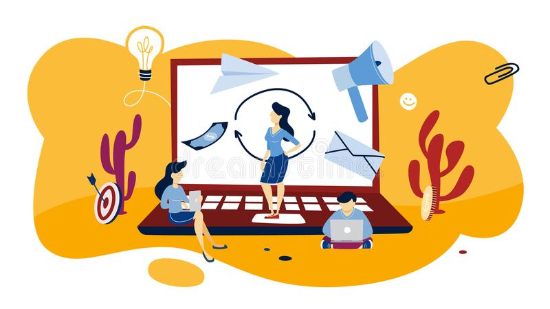 Remarketing begreppsillustration Affärsstrategi eller aktion royaltyfri illustrationer