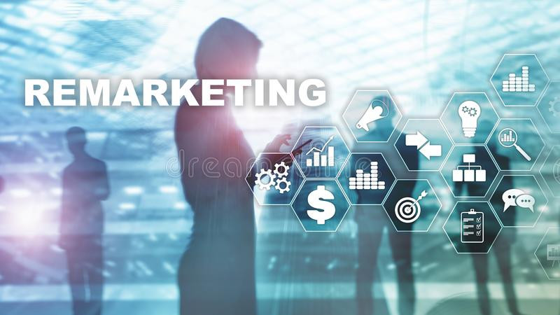 Remarketing Business Technology. Internet and network concept. Mixed media. Financial concept on blurred background vector illustration
