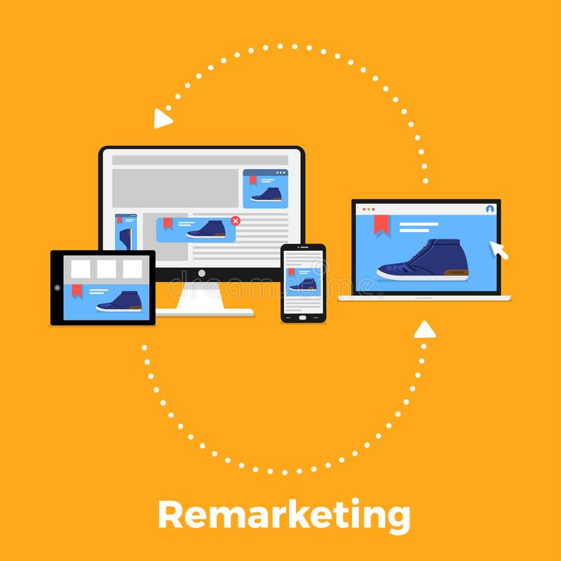 Remarketing digital marketing stock illustration
