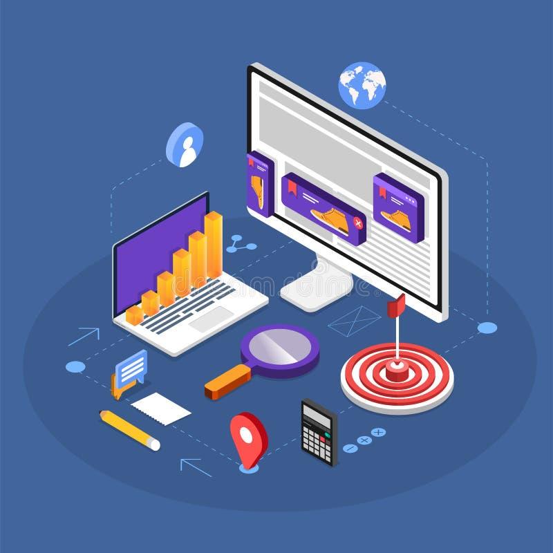 Remarketing digital marketing vector illustration