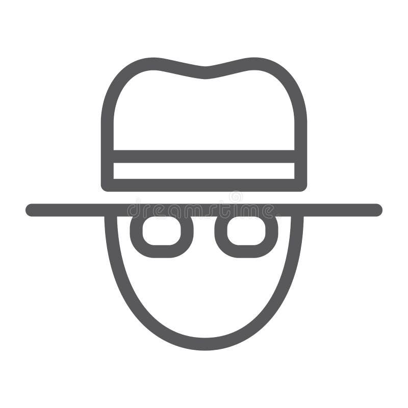 Remarquez la ligne icône, privé et révélateur, signe d'agent, les graphiques de vecteur, un modèle linéaire sur un fond blanc illustration de vecteur
