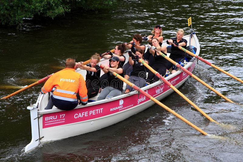 Rematori femminili nella corsa di barca su un fiume nei Paesi Bassi immagini stock libere da diritti