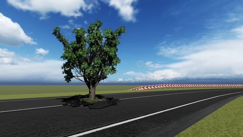 Rematura dell'albero sulla strada royalty illustrazione gratis