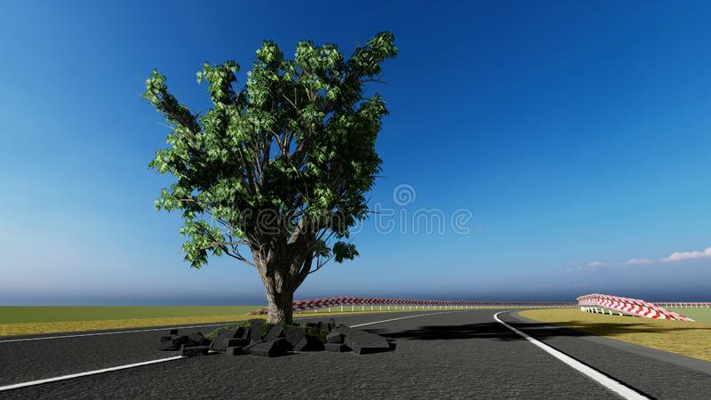Rematura dell'albero sulla strada illustrazione vettoriale