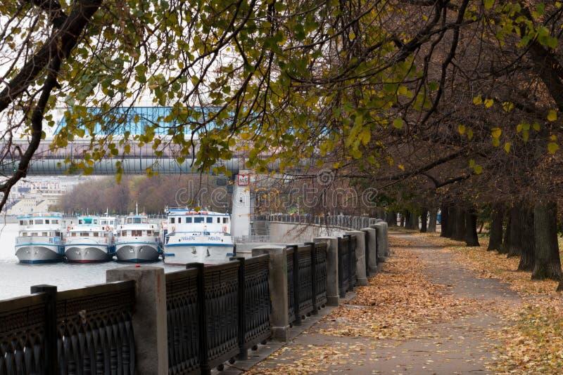 Remblai de fleuve de Moscou parkland image stock