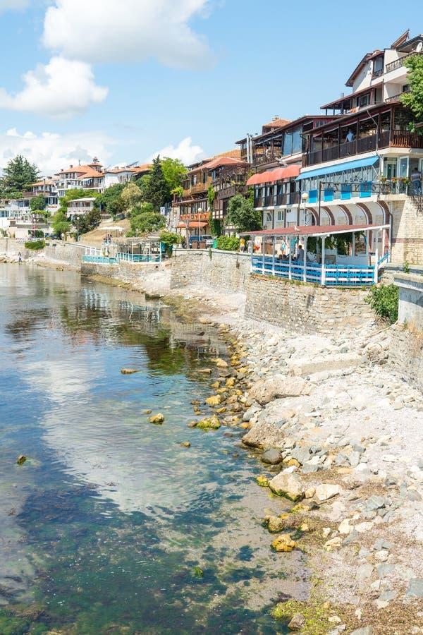 Remblai du sud dans la vieille ville de Nessebar, Bulgarie image stock