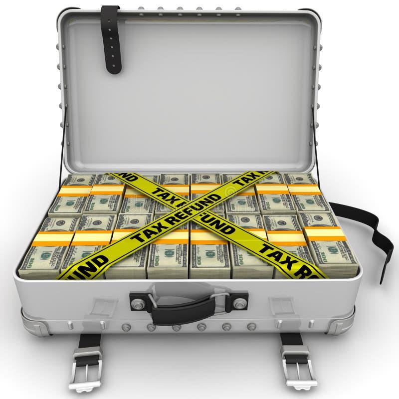 Remboursement d'impôt fiscal Valise complètement d'argent illustration stock