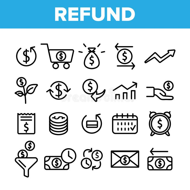 Remboursement, ensemble linéaire d'icônes de vecteur de système d'E-paiement illustration stock