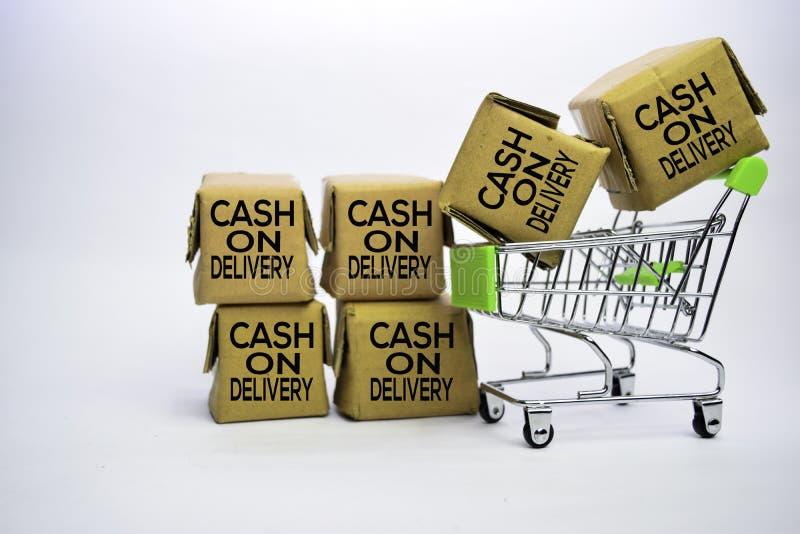 Rembourstekst in klein vakjes en boodschappenwagentje Concepten over online het winkelen Ge?soleerdj op witte achtergrond royalty-vrije stock foto's