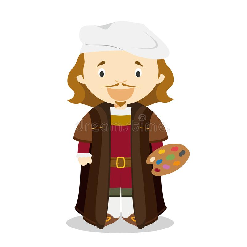 Rembrandt cartoon character. Vector Illustration. Kids History Collection stock illustration