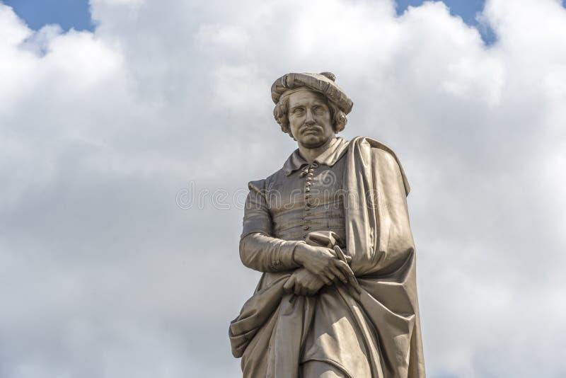 Rembrandt staty i Amsterdam, Nederländerna royaltyfri foto
