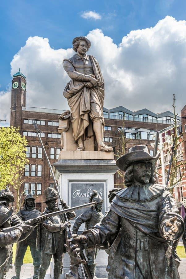 Rembrandt staty i Amsterdam, Nederländerna arkivbild